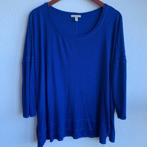 Anthropologie Bordeaux Blue Sleeved Top | XL